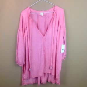 We the Free heathered pink rose top